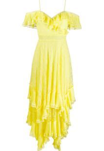 Alice+Olivia Vestido Com Acabamento De Babados - Amarelo