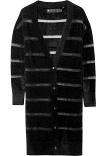 Cardigan Transparency Stripes (Preto, Gg)