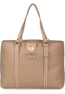 Bolsa Shopping Bag Feminina Recortes Taupe