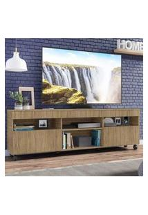 "Rack Tv 65"" Com Rodízios E 2 Portas Paris Multimóveis Rustic"