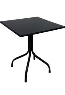 Conjunto De Mesa Fixa 70X70 Cm Preta Com 4 Cadeiras Empilháveis Vermelha Plástico