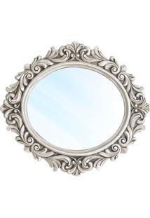 Espelho Veneza Clássico Em Resina E Pintura Em Pátina Branca