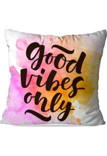 Capa De Almofada Avulsa Decorativa Good Vibes Only 45X45Cm