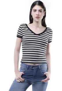 Blusa Decote V Listrada Pop Me Feminina - Feminino-Branco+Verde