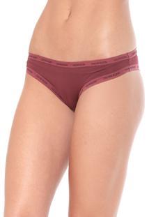 Calcinha Calvin Klein Underwear Tanga Logo Vinho