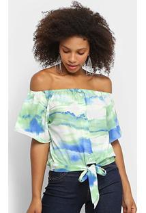 Blusa Lily Fashion Ombro A Ombro Tie Dye Feminina - Feminino-Verde