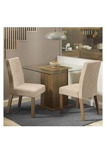 Conjunto Sala De Jantar Madesa Luli Mesa Tampo De Vidro Com 2 Cadeiras Rustic/Imperial Rustic/Imperial