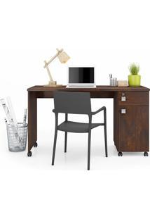 Mesa Computador Office Malta Noce - Lukaliam