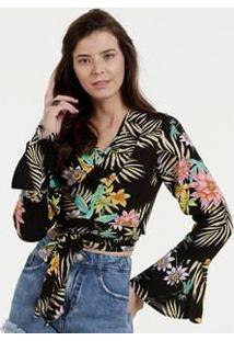 Blusa Feminina Transpassada Estampa Floral Razon