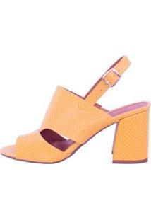 Sandália Mahasa Textura Pólen Salto Flare Feminina - Feminino-Amarelo