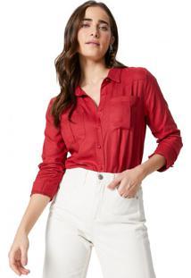 Amaro Feminino Camisa Com Detalhe De Fenda No Punho, Vermelho Queimado
