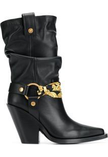Versace Ankle Boot De Couro Com Fivelas - Preto