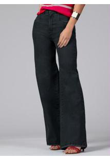 Calça Pantalona Com Bolsos Jeans Preto