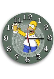 Relógio De Parede Decorativo Homer Simpson Chopp 35Cm Único