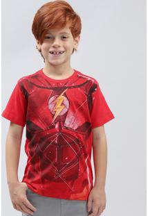 Camiseta Infantil The Flash Manga Curta Gola Careca Vermelha