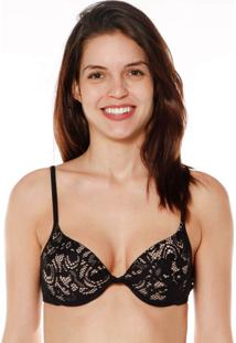 Sutiã Push Up Crochê Preto Marcyn | 526.012