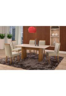 Conjunto De Mesa De Jantar Com 6 Cadeiras E Tampo De Madeira Maciça Milão Reta Ii Suede Creme E Off White