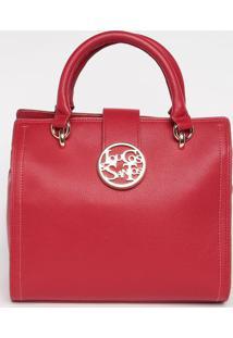 Bolsa Com Tag & Botão- Vermelha- 26X28X15Cm- Louloucos E Santos