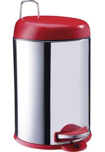 Lixeira 12L Aço Inox C/ Tampa Plástico Vermelha, Elevação Através De Pedal Emborrachado, Balde Interno Removível, Alça Externa Decorline - Brinox