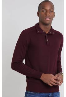 Suéter Masculino Comfort Fit Em Tricô Gola Alta Vinho