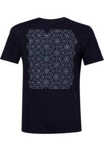 Camiseta Dudalina Careca Multi Hexagonos Masculina (Azul Marinho, M)