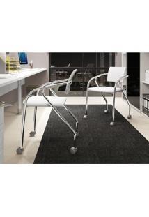 Conjunto 2 Cadeiras Carraro 1713 Para Escritório - Cromado/Branco