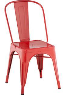 Cadeira Iron Sem Braço Aço Carbono Vermelha - Rivatti