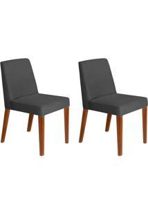 Conjunto Com 2 Cadeiras Infinity Veludo Chumbo