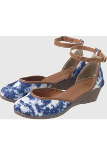 Anabela Espadrille Bico Fechado Em Tie Dye Azul/Branco - Multicolorido - Feminino - Sintã©Tico - Dafiti