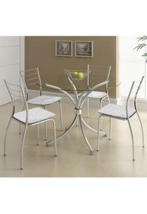 Mesa 375 Vidro Incolor Cromada Com 4 Cadeiras 1700 Fantasia Branco Carraro
