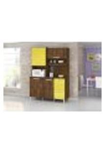 Armário Cozinha Completa 4 Portas Malbec Amarelo
