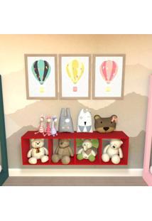 Nicho Cubo Com 3 Prateleiras Ciati Kit Cubos Baby Bramov Móveis Vermelho