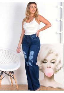 Calça Destroyed Almaria Plus Size Shyros Jeans Azu