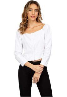 Blusa Feminina Cropped Linho Branco