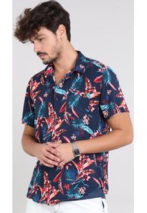 Camisa Masculina Estampada Floral Com Bolso Manga Curta Azul Marinho