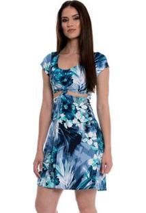 Vestido Bisô Nó - Feminino-Azul