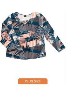 Blusa Estampada Feminina Rovitex Plus Azul