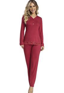Pijama Recco Comprido Viscose Stretch Vermelho