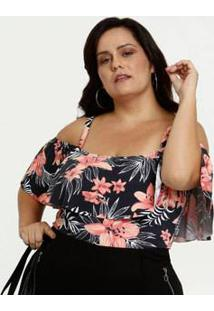 Body Feminino Open Shoulder Estampa Tropical Plus Size