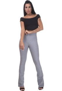 Calça Cintura Alta Miss Blessed Flare Bandagem Feminina - Feminino-Cinza