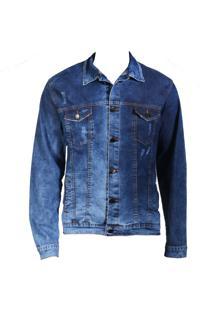 Jaqueta Jeans Escuro Lavado Rasgado - Feminino - Kanui