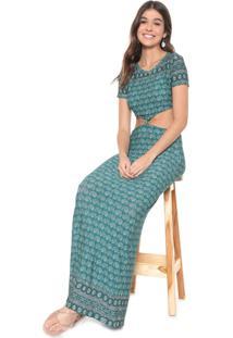 Vestido Redley Longo Nó Laos Verde