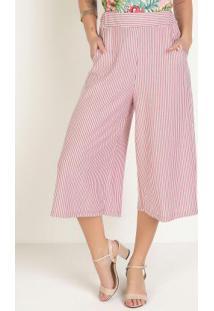 Calça Pantacourt Com Bolsos Listras Rosa