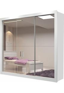Guarda Roupa Amapá 3 Portas Com 3 Espelhos Branco Brilho