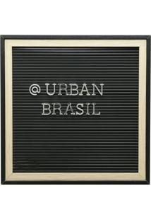 Quadro Madeira Plã¡Stico Alfabeto Preto Letras Pratas 32X2X32Cm Urban - Preto - Dafiti