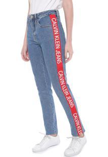 Calça Jeans Calvin Klein Jeans Slim Faixas Laterais Azul