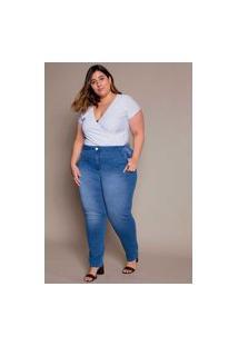 Calça Almaria Plus Size Izzat Jeans Amarante Azul