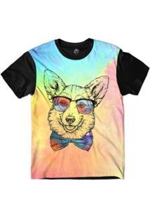 Camiseta Bsc Animais Hipster Corgi Sublimada - Masculino-Rosa