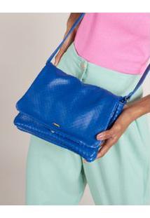 Bolsa Pequena Couro Escamado - Azul U