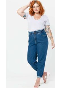 Calça Jeans Mom Almaria Plus Size Tal Qual Azul